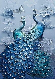 DELFINO DIY 5D Diamond Painting Blue Peacock Kits, Full Drill Square Diamond Crystal Rhinestone Pictures Arts Craft for Ho...