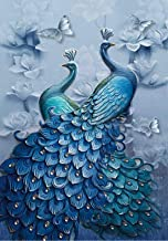 DELFINO DIY 5D Diamond Painting Blue Peacock Kits, Full Drill Square Diamond Crystal Rhinestone Pictures Arts Craft for Ho...