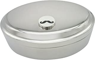 Circular White Hipster Mustache Pendant Oval Trinket Jewelry Box