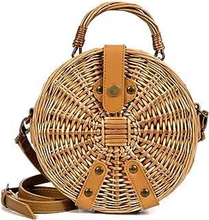 Rattan Beach Straw Bags Women Summer Handbag Bohemia Square Tote Handmade Bali Woven Cross Body Bag