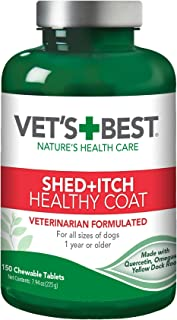 Vet's Best Healthy Coat Shed & Itch Relief Dog Supplements | Relieve Dogs Skin Irritation and Shedding Due to Seasonal All...