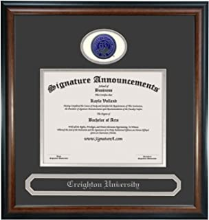 Signature Announcements Creighton University (CU) Doctorate Graduation Diploma Frame with Sculpted Foil Seal & Name (Matte Mahogany, 20 x 20)