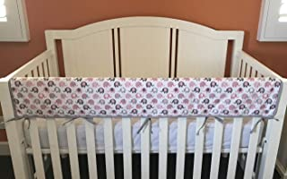 Effe Bebe Reversible Crib Rail Cover - Breathable 200 Count Cotton on face, 100% Cotton Velour Backing, 1PC/Set, Wide Long Petal Grey