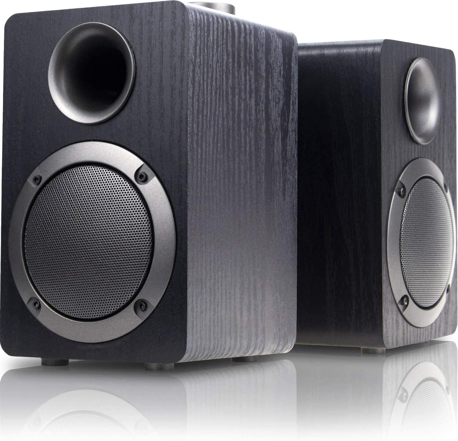 USB-Powered PC Computer Speakers; Mica PB20i with 2.0CH Surround Sound, Wooden Wired LED Volume Control Mini Speaker for Multiple Devices, Black