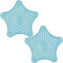 Drain Hair Catcher Sink Filter Pair of Blue Star Shaped Silicone Bath Shower Drain Plug Hole Cover Traps by TRIXES