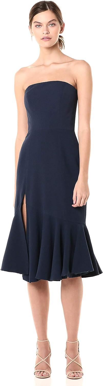 Dress the Population Women's Madison Strapless Midi Dress with Slit, Navy, X-Small