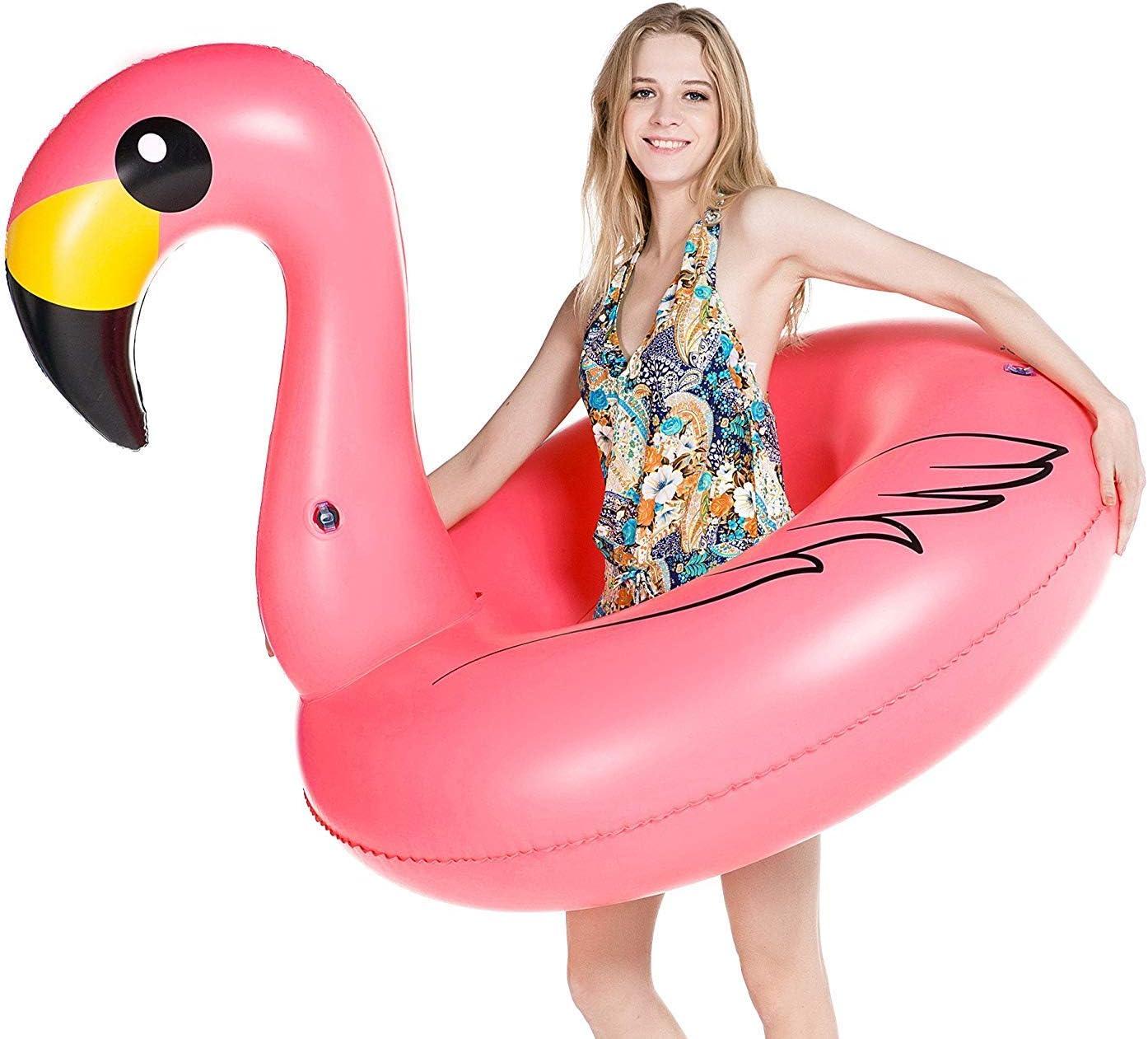 Inflatable Giant Flamingo Pool Float Ring Raft Swimming Water Fun