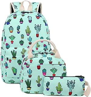 Bookbag School Backpack Girls Cute Schoolbag for 15 inch Laptop backpack set (Teal - Cactus)