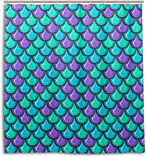 Custom Waterproof Bathroom Mermaid Scales Geometric Rhombus Shower Curtain Polyester Fabric Bathroom Curtain,Green,120180cm