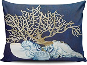 ANLIPU Personalized Decorative Pillowcases Indigo Ocean Coral Seashells Nautical Beach House Navy Throw Pillow Covers Cases Rectangular Queen Size 20x30 Inches Print on One Side