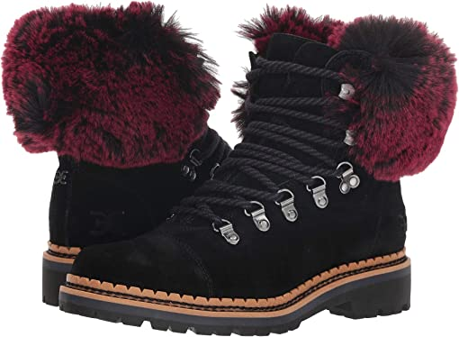 Black/Raspberry Wine Velutto Suede Leather/Opulent Fur