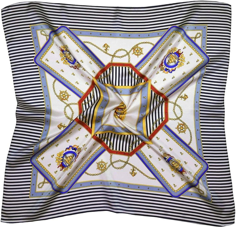 Cream bluee Compass Thick Small Silk Square Scarf