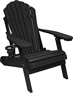 ECCB Outdoor Outer Banks Deluxe Oversized Poly Lumber Folding Adirondack Chair (Black)