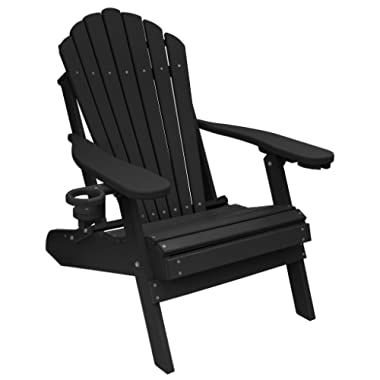 Outer Banks Deluxe Oversized Poly Lumber Folding Adirondack Chair (Black)