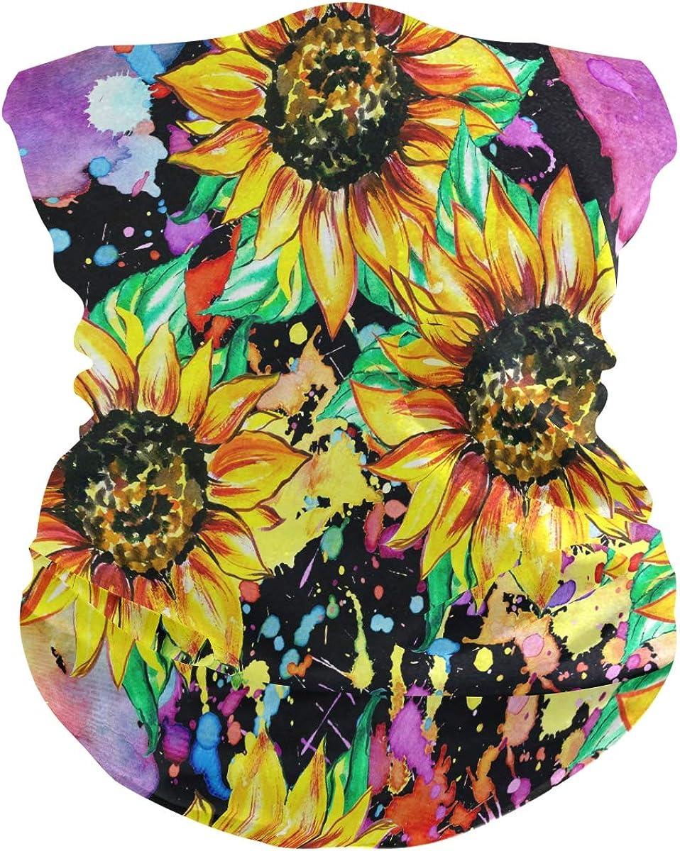 Face Scarfs Bandana Neck Gaiter Watercolor Sunflower Headband Headwear for Cycling Fishing Hiking Camping