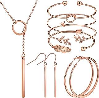 گوشواره گردنبند عمودی نوار جواهرات Hicarer دستبند کاف قابل تنظیم