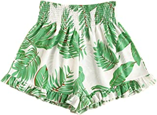 Women's Plus Summer Floral Elastic Waist Wide Leg Ruffle Hem Beach Shorts
