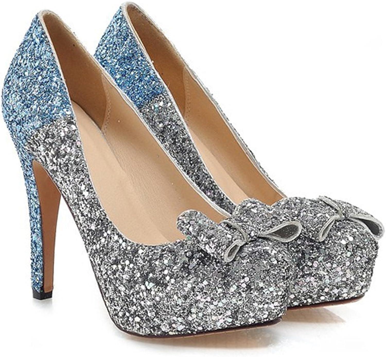 Paillette Bowknot Platform Sexy High Heel shoes bluee 39