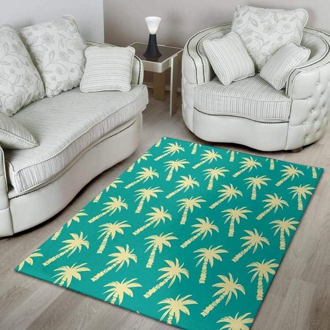 Green Palm Tree Hawaiin Over item handling ☆ Christmas Gift Great interest Rug for Bathroom Ide