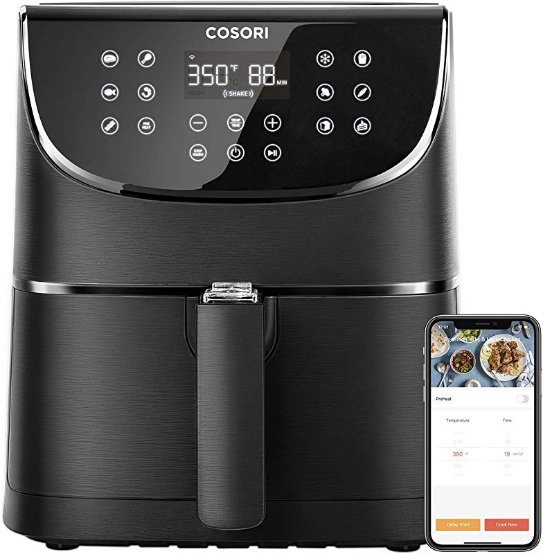 COSORI Smart WiFi Air Fryer 5 8QT 100 Recipes 1700 Watt Programmable Base For Air Frying Roasting Keep Warm 11 Cooking Preset Preheat Shake Remind Digital Touchscreen 2 Year Warranty Work With Alexa