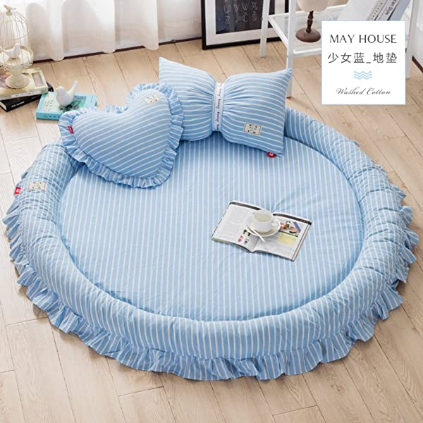 Lovehouse Tatami Floor Mat Sleeping Foldable Soft Thick Mattress Topper Cotton Round Bed Rugs Baby Play Mat Round Carpet Tent Bed Blue Floor Mat Heart Pillow