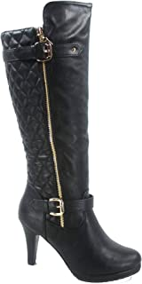 TOP Moda FZ-Win-6 Women's Fashion Quilted Buckle Low Heel Zipper Knee High Boots Shoes Black