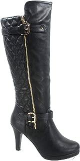 TOP Moda FZ-Win-6 Women's Fashion Quilted Buckle Low Heel Zipper Knee High Boots Shoes Black