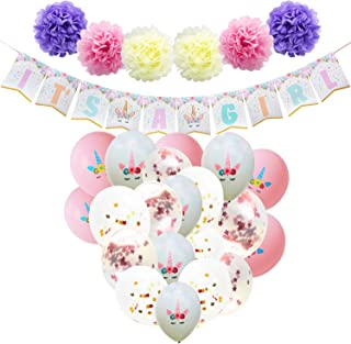 WERNNSAI Baby Shower Decorations for Girl - Unicorn Theme Party Supplies Set IT'S A Girl Banner Paper Pom Poms Confetti Balloons Pink White Latex Balloons Ribbons