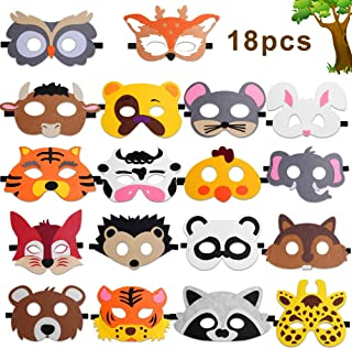 Animal Masks for Kids, Hicdaw 18Pcs Animal Felt Masks Farm Animal Mask Great for Forest Themed Birthday Parties Wild Animal Theme for Kids