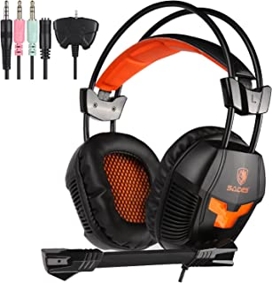 Sades SA921 Lightweight 3.5mm Jack Over Ear Stereo Gaming Headset with Mic and Splitter Adapter for Laptop / PC / MAC / PS...