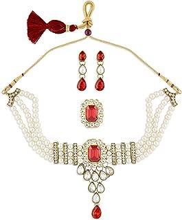 Zaveri Pearls Red Multistrand Pearls Ethnic Choker Necklace Earring & Ring Set For Women-ZPFK10838