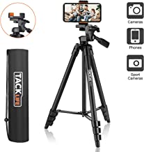 "Lightweight Tripod 55-Inch, Aluminum Travel/Camera/Phone Tripod with Carry Bag, Maximum Load Capacity 6.6 LB, 1/4"" Mounting Screw for Phone, Camera, Traveling, Laser Measure, Laser Level"