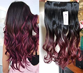 3/4 Full Head Clip in Hair Extensions Ombre One Piece 2 Tones Wavy Curly DL (Natural black to plum red)