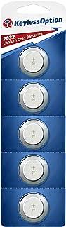 KeylessOption 2032 Battery Long Lasting 3v Lithium for Keyless Entry Remote Smart Key Fob Alarm Head Flip Keys CR2032 (5 Count)