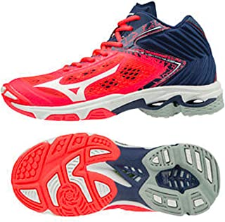 MIZUNO V1GC190501 Wave Lightning Z5 MID Men's Volleyball Shoes, Fiery Coral/White/Estate Blue