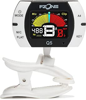 Fzone Q5 Chromatic Clip-on Tuner for Guitar, Ukulele, Bass, Violin, Banjo and Woodwind Instruments, Full Color LCD,Extra Mic Function-A4 Calibration