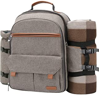 (Beige) - Sunflora Picnic Backpack For 4 Person Set Pack With Insulated Waterproof Pouch For Family Outdoor Camping (Brush...