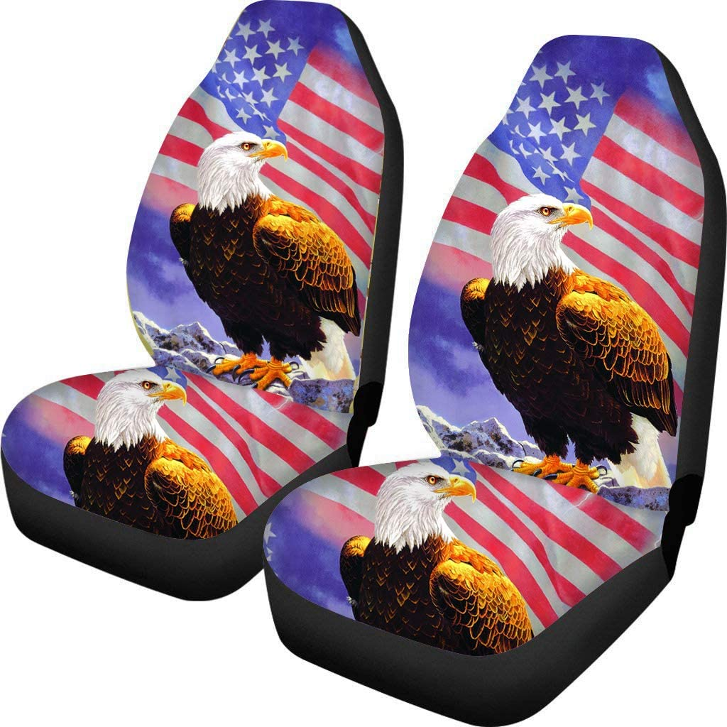 UZZUHI USA American Flag Horse Eagle Car Front Bucket Seat Cover Washable 2-pc No-Slip Bench Car Seat Cover Decorative Universal Fit for Auto Van Sedan SUV Truck