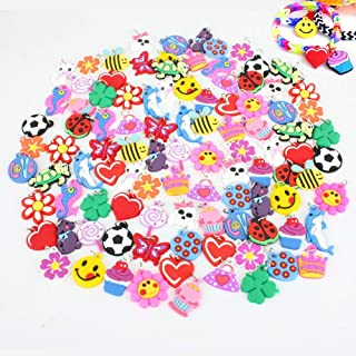 PARK AVE 100 Silicone Charms - Variety Pack - Compatible with All Common Bracelet Rubber Band Loom Kits - Colorful Assorted Designs for Childrens' Jewelry, Arts & Crafts, Party Favor Supplies
