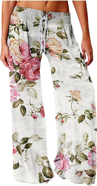 MIVAMIYA Womens Boho Pants Drawstring Wide Leg Palazzo Lounge Pants Loose Comfy Casual Pajama Pants Flowy Long Trousers