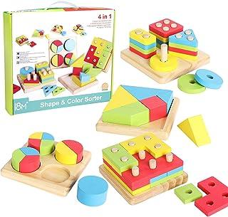 Wishtime Tiempo DE Deseo Juguete 4 en 1 Forma educativa de Madera Rompecabezas para Preescolar Bloque de apilamiento Juguete para niños pequeños