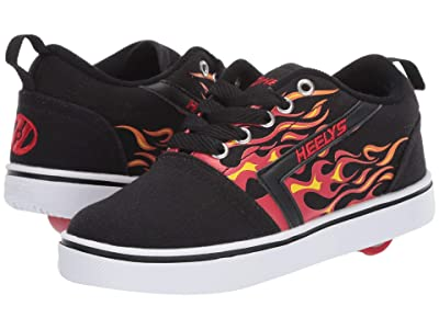 Heelys GR8 Pro Prints (Little Kid/Big Kid/Adult) (Black/Red/Flames) Boys Shoes