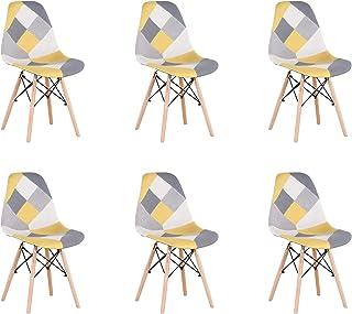BenyLed Lot de 6 Chaises de Salle à Manger Rétro Patchwork Chaise Tissu Salle à Manger Chaise pour Cuisine Salle à Manger ...