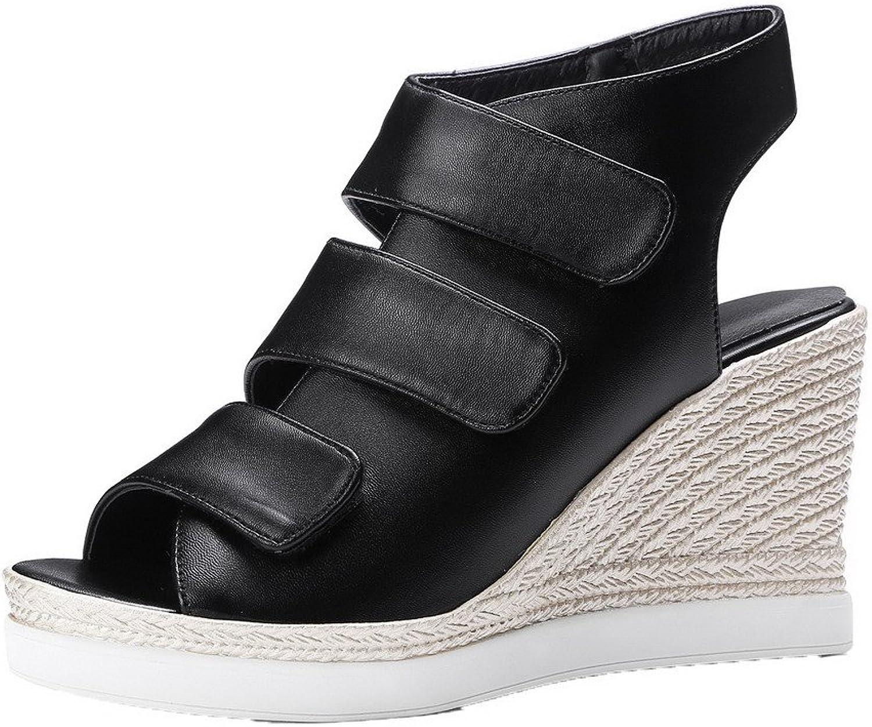 WeenFashion Women's Hook Loop Peep-Toe High-Heels Pu Solid Sandals, Black, 35