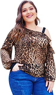 Womens Plus Size Off One Shoulder Long Sleeve Casual Blouse Top Shirts