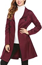SE MIU Women's Slim Fit Lapel Double-Breasted Thick Jacket Fit and Flare Trench Coat