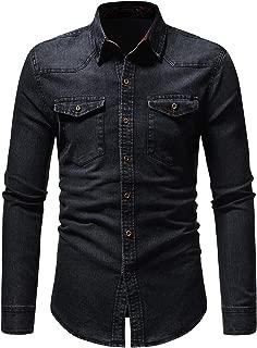 OSYS THX Mens Button Down Shirts Western Casual Long Sleeve Slim Fit Denim Shirts