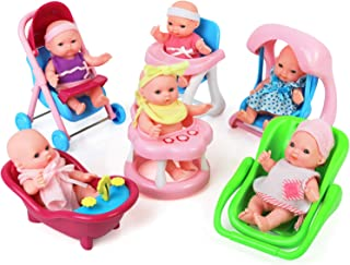 """Click N' Play Set of 6 Mini 5"""" Baby Girl Dolls with Accessories, Stroller, High Chair, Bathtub, Infant Seat, Swing, Walker"""