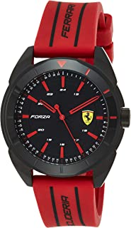 Ferrari Mens Quartz Watch, Analog Display and Silicone Strap 830544