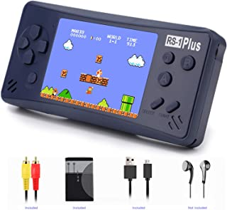 Handheld Game Console for Kids Adults, JJFUN RS-1 PLUS Portable Classic Game Consoles Built in 218 Games 3.5 Inch 1 USB Charge Retro Arcade Video Game Player, Birthday Presents for Children-Royal Blue